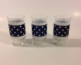 Vintage Anchor Hocking Blue Polka Dot Lace 5oz Juice Glass Set of 2 EUC