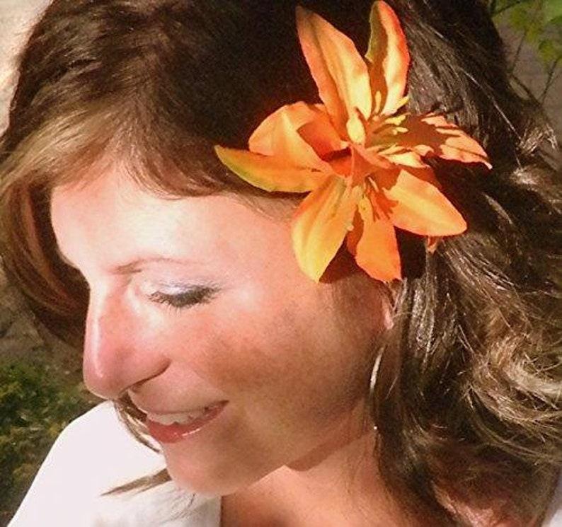 Double Orange Lily Flower Hair Clip