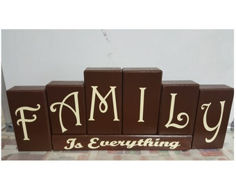 Family Is Everything Wood Bock Set