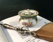 Antique Dresden inkwell. Hand painted with flowers