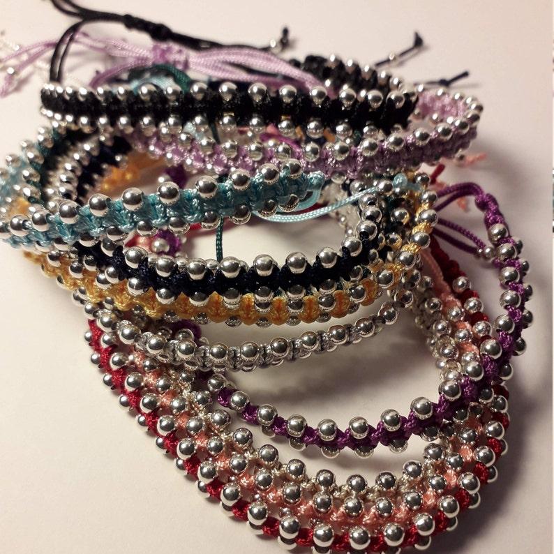 Saffron Yellow Macrame Friendship Handmade Adjustable Bracelet With 3mm Sterling Silver Beads