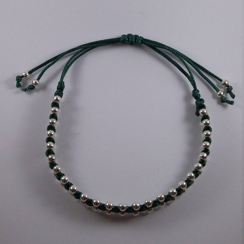 3mm beads Gorgeous Green Adjustable Handmade Friendship Macrame Bracelet with Sterling Silver Beads