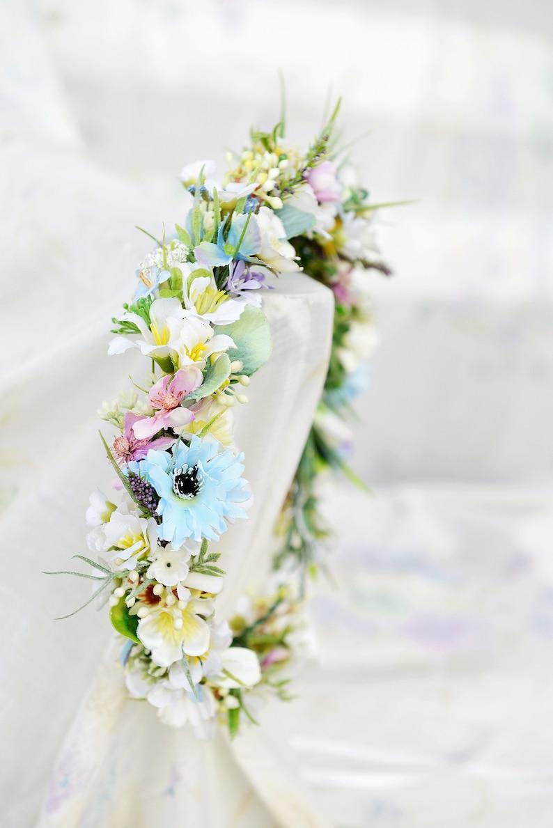 Sweet Headpiece Bridal Crown Pastel Floral Crown Romantic Headband Pastel Wedding Romantic Wreath Light Colors Spring Flower Crown