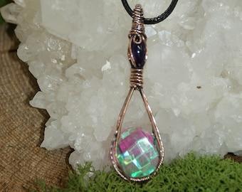 Crystal pendant of Roche Aqua Aura and Amethyst, cabochon necklace