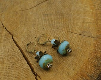 Earrings blue and bronze Czech Crystal beads