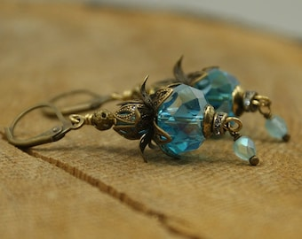 Turquoise blue crystal earrings
