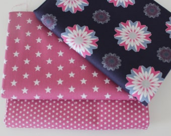 stars in pink dots Cotton fabric package 4 x 50 x 140150 cm Retro asterisks