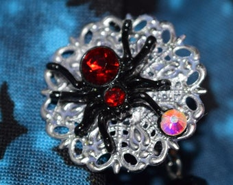 Halloween Black Spider Web Sweater Chain Cardigan Clip Vintage Look Pinup