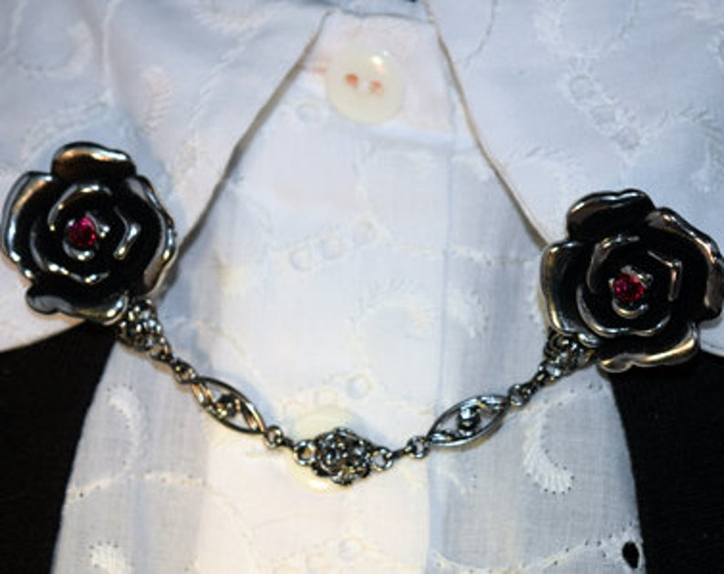 Antique Gunmetal Rose  Sweater Chain Cardigan Clip Vintage Look Pinup with Red Crystal Accents
