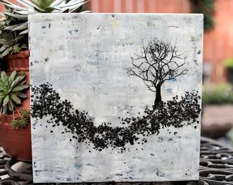 10 x 10 Rugged Tree - Original Encaustic Painting