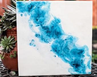 12 x 12 Teal Fusion (1) - Original Encaustic Painting