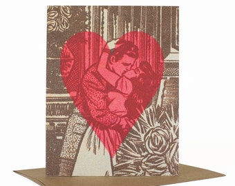 Retro Romantic Card,  Vintage Art Valentine Card, Whimsical Love Card, Kiss, You Have My Heart Card