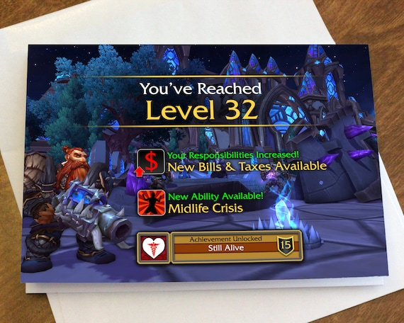 World Of Warcraft Level Up Birthday Card Etsy