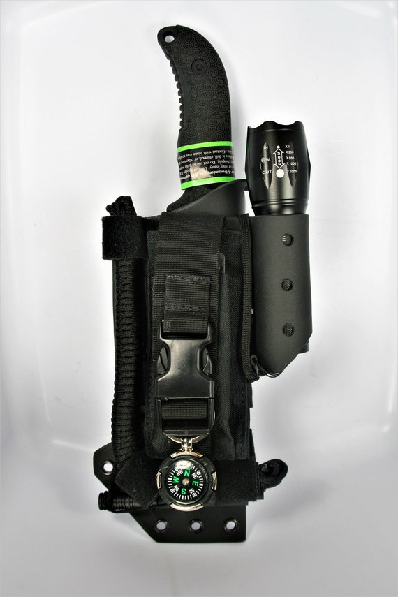 EDC Field Kit, Schrade Frontier Knife, Canvas Tactical Pouch, Kydex Sheath,  20 ft' 550 paracord, Flashlight, & Fire starter