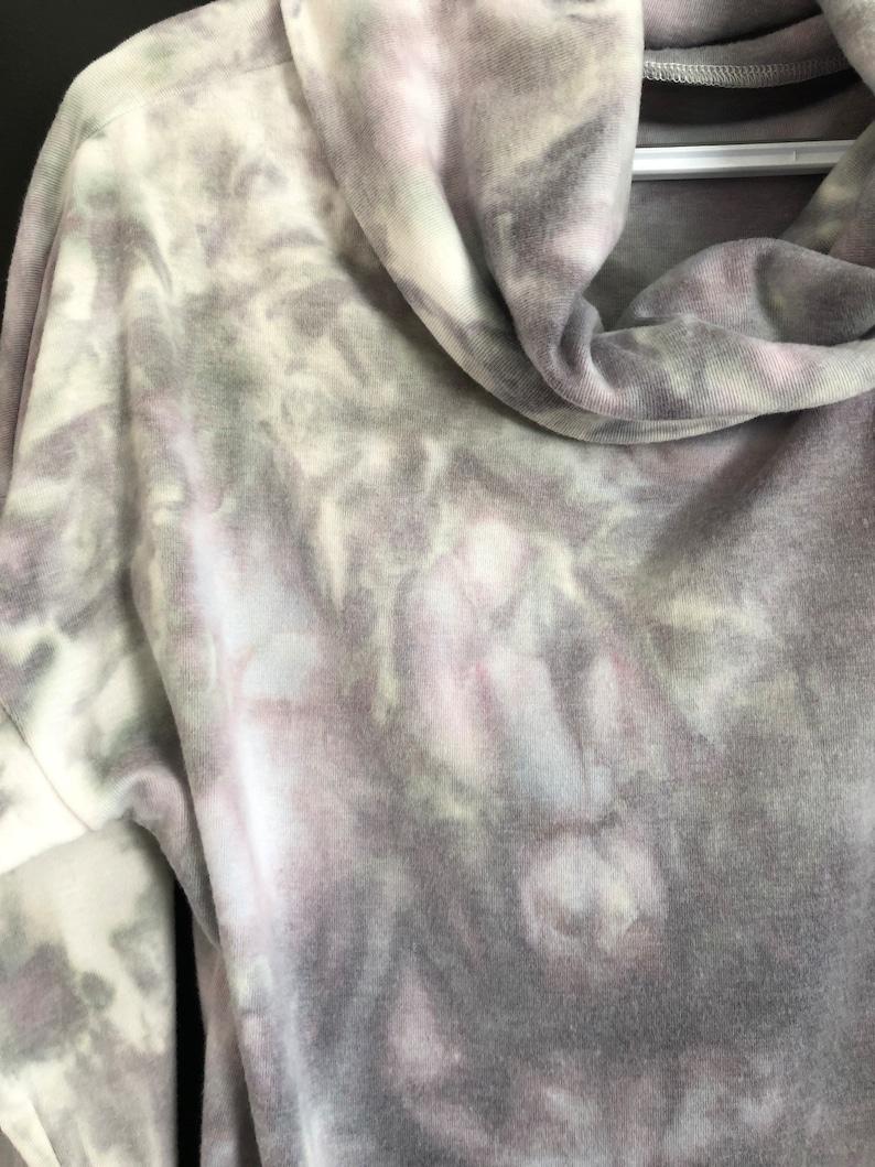 Ice Dyed Women\u2019s Cowl Neck Cotton Sweatshirt  Tie Dye Print Long Sleeve Top  Lightweight Woman\u2019s Sweater