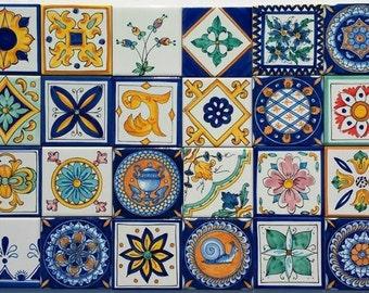 Ceramiche di vietri pannello con fiori su piastrelle etsy