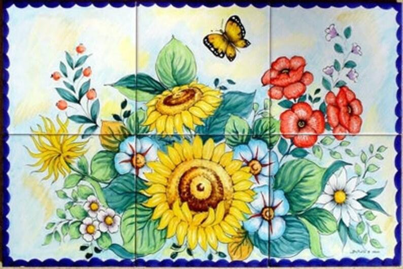 Ceramiche di vietri pannello 40x60 con fiori su piastrelle etsy