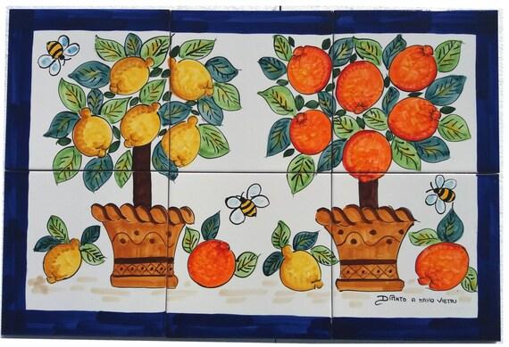 Ceramiche di vietri mosaico mattonelle vietresi agrumi etsy