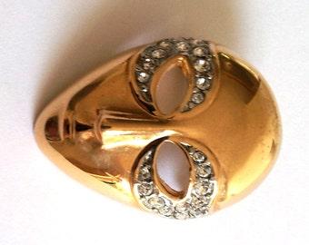 Vintage 1970 Butler Venetian Masquerade Rhinestone Goldtone Brooch Pin