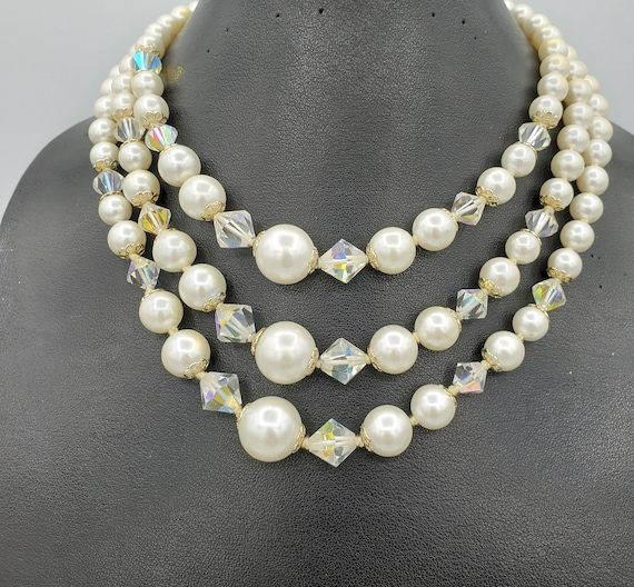 Pearl Necklace Cream White Faux Pearls Graduated Statement Glam Crystal Accents