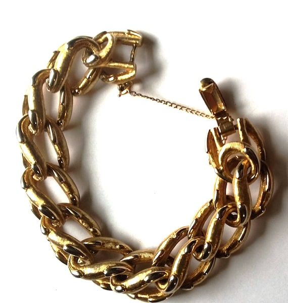 Boucher Chunky Gold Link Bracelet, Textured and Sp