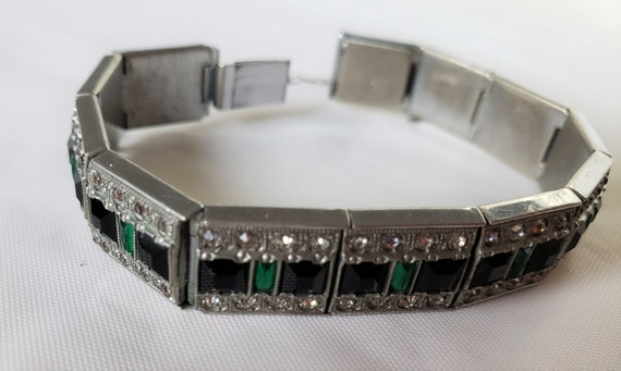 Allco Art Deco Silver Bracelet, Red and Green Ston