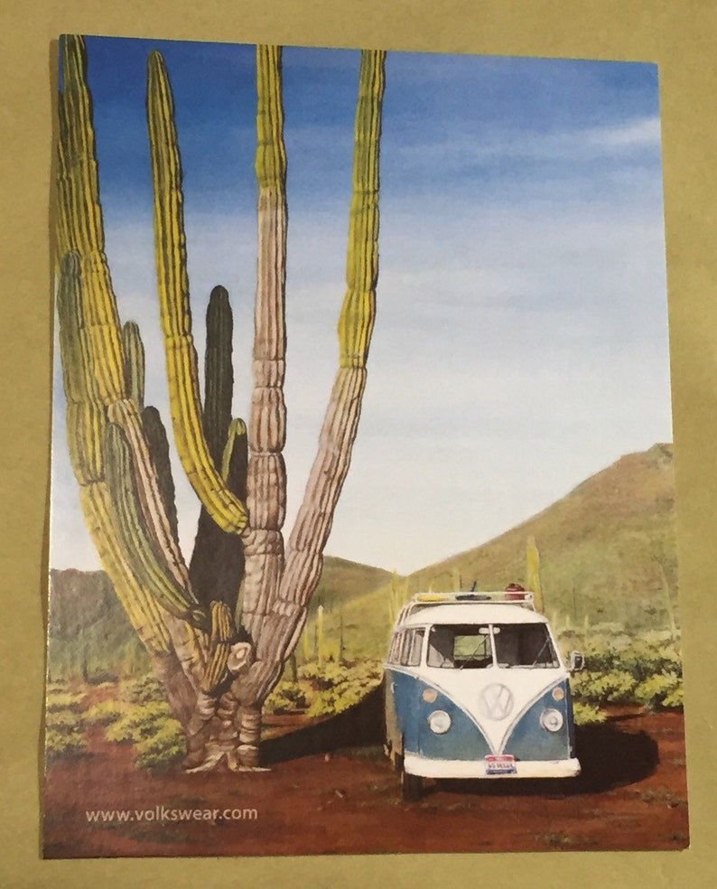 Postcard print of Acrylic on Canvas painting.  Volkswagen image 0