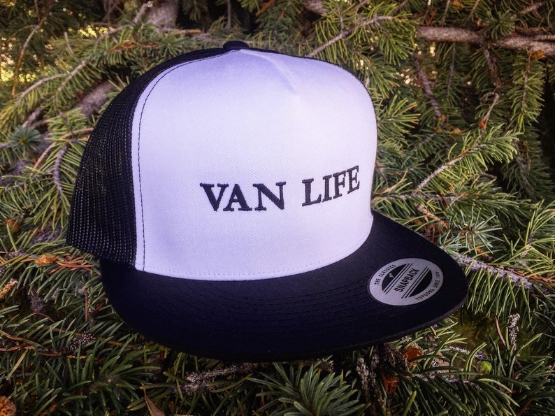 7a8566ec3 Van Life Trucker Hat. Structured front with embroidered Van Life design.  Mesh back with classic snap clasp.