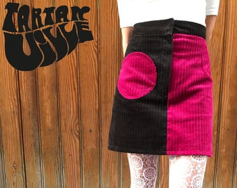 Two tone corduroy skirt