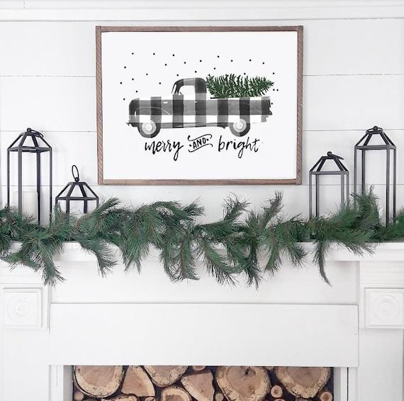 Buffalo Plaid Truck Christmas Print Gingham Holiday Home Decor Etsy