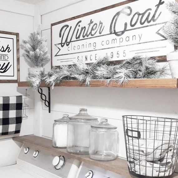 Winter Coat Cleaning Company 1955 Laundry Room Vintage Home Style Decor Farmhouse Decor Whitewash Handmade Wood Sign