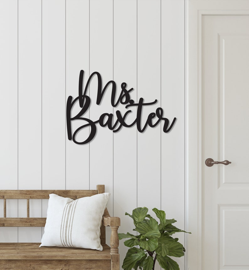 Personalized Classroom Door Sign Wood Teacher Name Cutout image 0