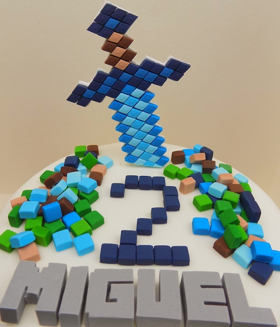Handmade Minecraft Cake Toppers Squares Personalised Edible Etsy