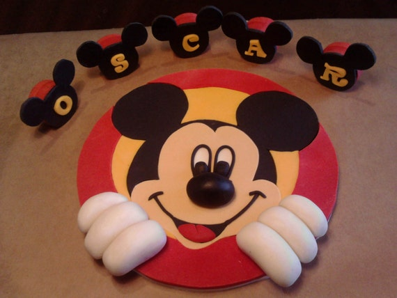 Handmade Mickey Mouse Edible Letters Cake Toppers Etsy