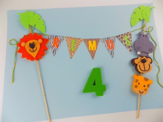 Handmade jungle animal safai cake topper banner bunting sugar paste edible