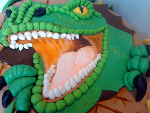 Handmade Dinosaur Edible Cake Decoration Personalised Cake Topper Birthday Shipping From Uk