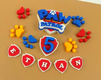 Personalised Paw Patrol BLUE badge sugar paste icing cake topper edible birthday, shipping from UK