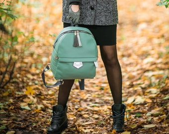 Genuine leather backpack, mint backpack, leather rucksack, women laptop backpack, women's leather backpack, tefia, genuine leather backpack