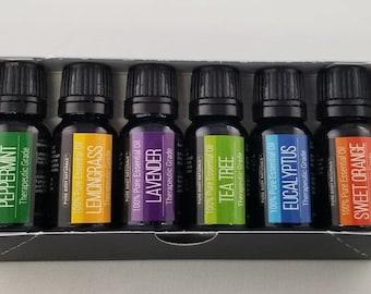 Essential Oil Kit, Essential Oils, Tea Tree, Lavender, Eucalyptus, Sweet Orange, Lemon Grass, Peppermint, essential oil starting kit, e.o's