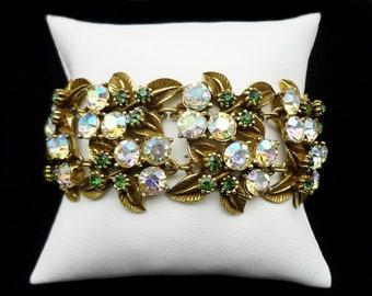 Signed Florenza Rhinestone Turquoise Cabachon Link Bracelet Vintage Jewelry