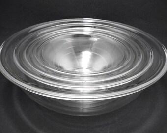 Vintage Clear Pyrex Mixing Bowls, Pyrex Mixing Bowl Set, Pyrex Bowls, Pyrex Nesting Bowls, Pyrex Clear Glass Mixing Bowls,Glass Mixing Bowls