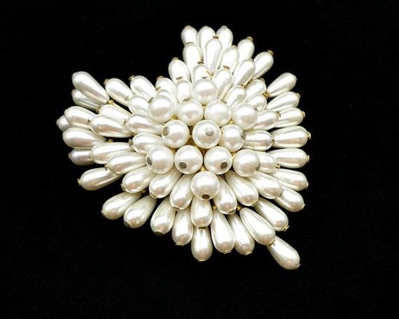 Vintage Pearl Cluster Heart Brooch, Pearl Brooch,… - image 2