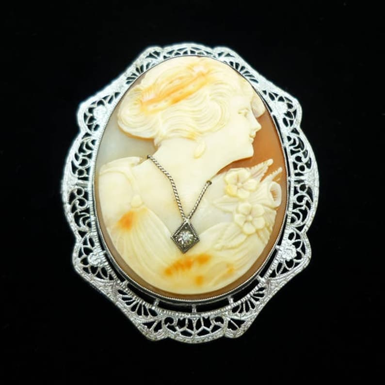 Antique Cameo Brooch Cameo Brooch Shell Cameo Brooch Victorian Cameo Brooch Vintage Sterling Silver Large Hand Carved Shell Cameo Brooch
