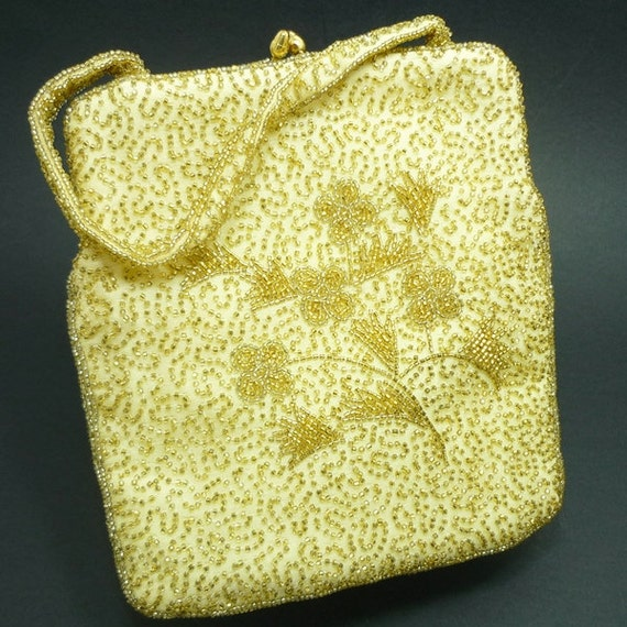 MINT Vintage Hand Beaded Gold Evening Bag, Gold Be