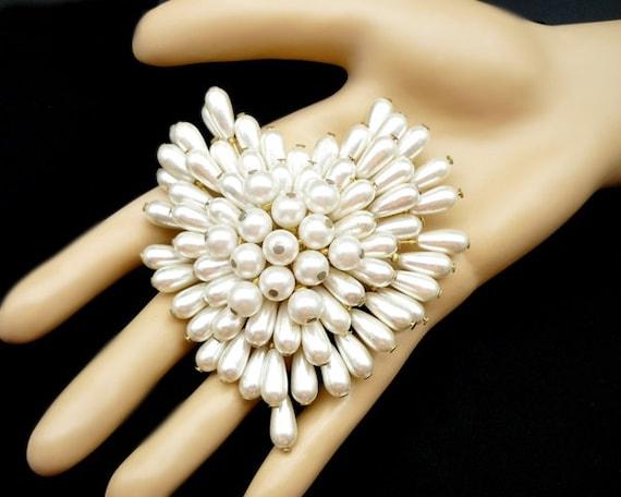 Vintage Pearl Cluster Heart Brooch, Pearl Brooch,… - image 5