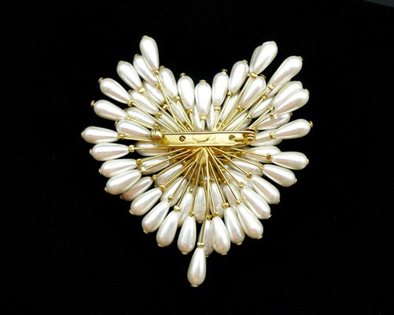 Vintage Pearl Cluster Heart Brooch, Pearl Brooch,… - image 6
