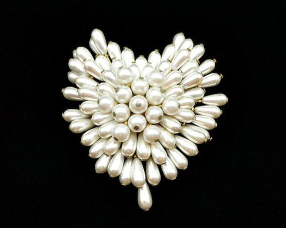 Vintage Pearl Cluster Heart Brooch, Pearl Brooch,… - image 4
