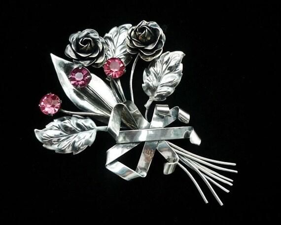 Sterling  Silver Pink Flower Brooch.