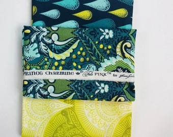Fabric Free Spirit Tula Pink Prince Charming Snail Scallop olive colorway out of print RARE BTY