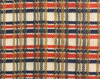 Woven Plaid Fabric / Vintage Fabric Sold By The Half Yard
